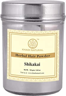 Khadi Natural Herbal Organic Shikakai Powder for Hair Wash and Conditioning Latest International Packaging (150 g)