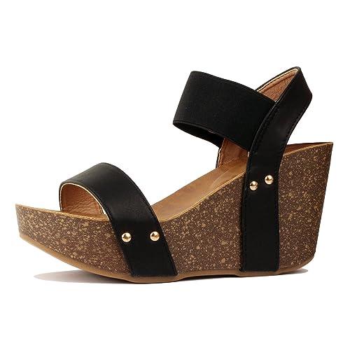 d116cd89e8 Guilty Heart Women's Comfortable Platform Cork Wedge   Faux Leather  Everyday Sandal
