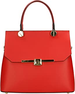 Aren - Handbag Borsa a Mano da Donna in Vera Pelle Made in Italy - 27x23x12 Cm