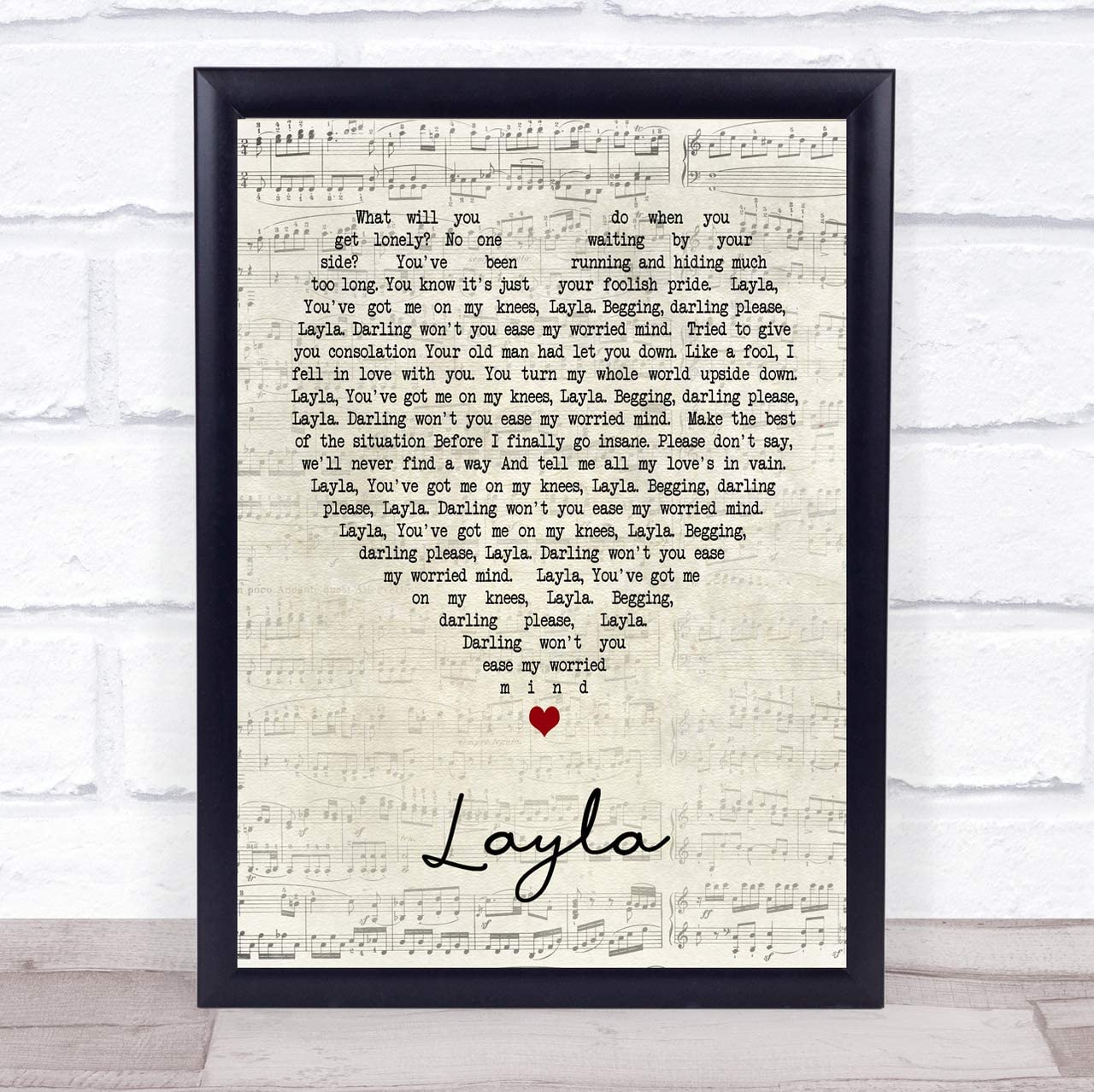 Layla Script Heart Song Lyric Quote Print