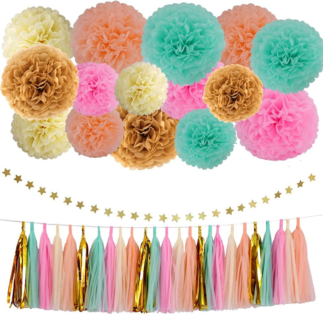 Gift Prod Art Tissue Mint Gold Peach Cream Tissue Pom Poms 41 Pcs Paper Flowers Tissue Tassel Paper Garland Kit 15 Pcs Tissue Paper 25 Pcs Tissue Tassel 1 Pcs Five-pointed Star Paper (Style 1)