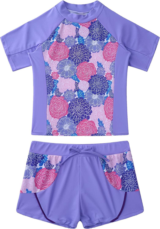 Max 59% OFF CHICTRY Kids Girls Tampa Mall Floral 2 Pcs Guard Shi Rash Sleeve Short Sets