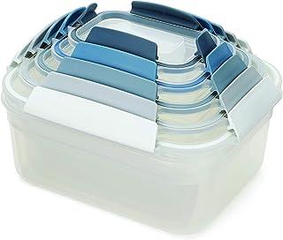 Joseph Joseph Nest Lock Plastic Food Storage Container Set with Lockable Airtight Leakproof Lids, 10-Piece, Sky