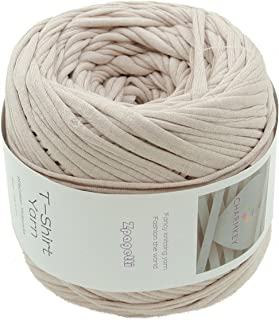 Charmkey Zpagetti T Shirt Yarn Strong Recycled Cotton Blend Ribbon 6 Super Chunky Elastic Knitting Cloth Fabric for Bag Cushion and DIY Crocheting Projects, 1 Skein, 8.82 Ounce (Scallop Shell)