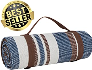 scuddles Picnic Outdoor Blanket Park Blanket Beach Mat for Camping on Grass Oversized Seats Adults Water Resistant Picnic Mat (60X60 Large Navy CM03)
