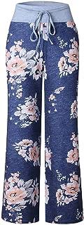 YiyiLai Women Drawstring Plus Size Leisure Long Trousers Wide Leg Lounge Pants