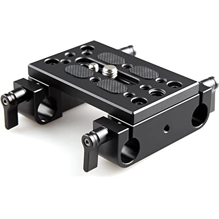 SMALLRIG Base Plate Piastra for DSLR Fotocamera Videocamera, Tripod Mounting Plate con 15mm Rod Clamps - 1775