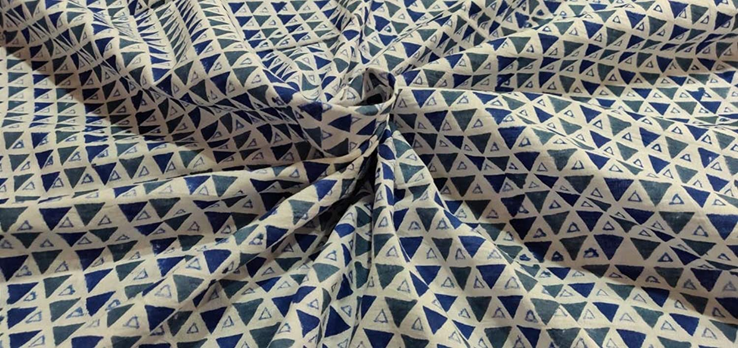 HANDICRAFTOFPINKCITY 10 Yard Hand Block Print Fabric Jaipuri Women Dress Fabric Triangle Print Pattern Dressmaking 100% Cotton