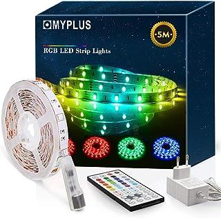 MYPLUS Bande LED RVB 5 m avec télécommande et bloc d'alimentation à changement de couleur pour la maison, la cuisine, la c...