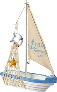 Juvale Sailboat Model Decoration – Wooden Sailing Boat Home Decor Set, Beach..