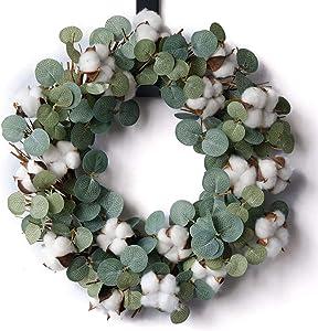 idyllic Eucalyptus and Cotton Wreath, 14 Inches Artificial Wreath on a Natural Twig Base for Farmhouse, Garden, Wedding, Decor