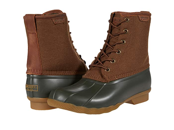 Vintage Boots- Winter Rain and Snow Boots History Sperry Saltwater Duck Wool BrownOlive Shoes $84.99 AT vintagedancer.com