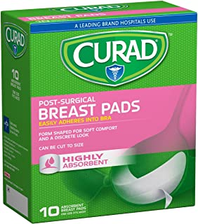 Curad Post Surgical Absorbent Breast Pads with Adhesive, 10 Count