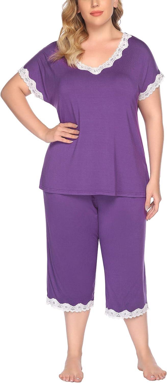 IN'VOLAND Women's Plus Size Pajama Set Short Sleeve Sleepwear Tops with Capri Pants and Pockets Nightwear Loungewear Pjs Sets
