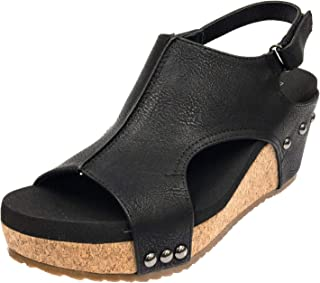 Women's Back Strap Peep Toe Wedge Sandal