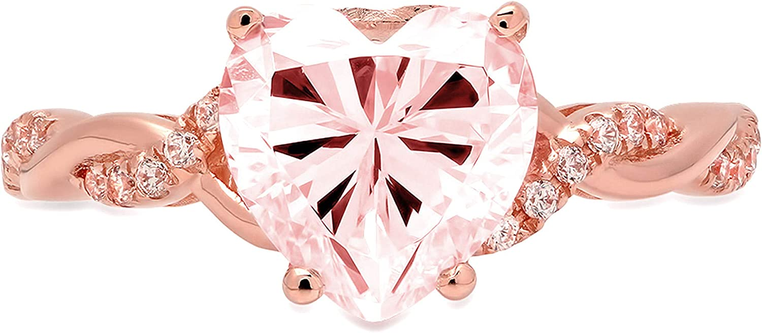 2.13ct Heart Cut Criss Cross Twisted Solitaire Halo Pink Ideal VVS1 Simulated Diamond CZ Engagement Promise Statement Anniversary Bridal Wedding Ring Solid 14k Rose Gold