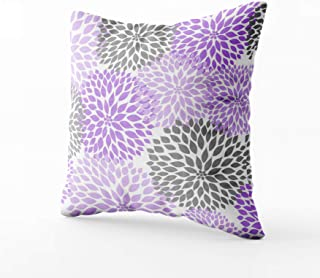 Musesh lavender and gray dahlia mums rectangular pillow Cushions Case Throw Pillow Cover For Sofa Home Decorative Pillowslip Gift Ideas Household Pillowcase Zippered Pillow Covers 18X18Inch