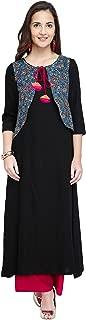 OOMPH! Women's Rayon a line Salwar Suit Set (mk120setxs_ Jet Black_ X-Small)