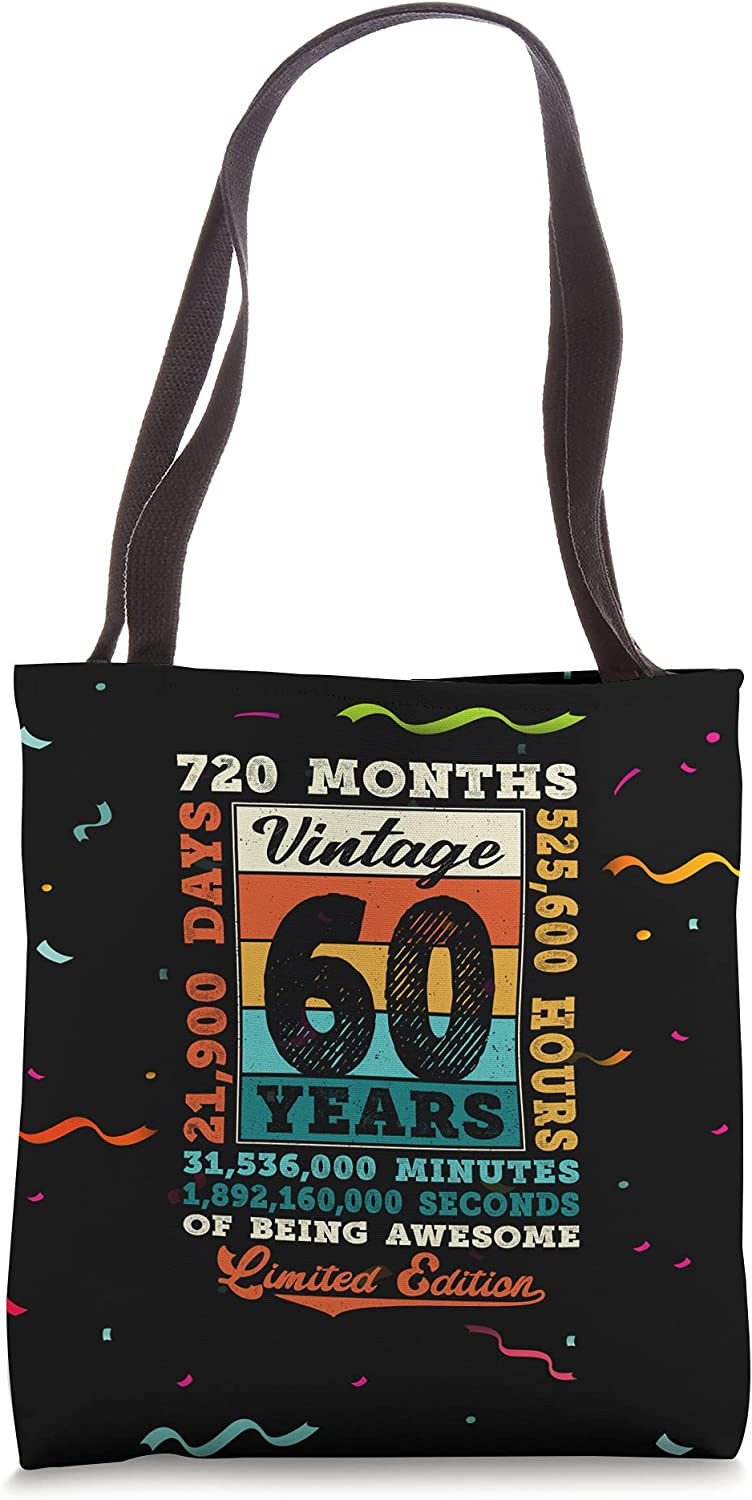 60th Birthday 60 Year Old Limited Edition Vintage 720 Months Tote Bag