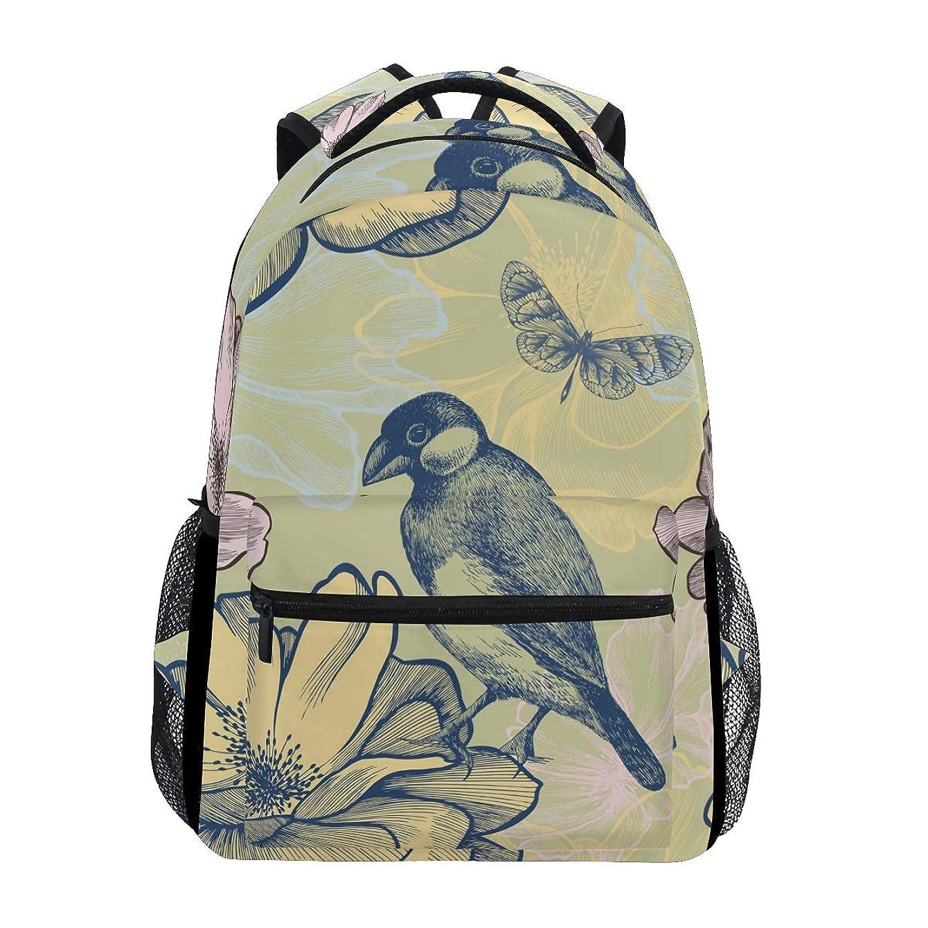 圧縮近所のスナックGORIRA(ゴリラ)リュックサック 高校生 可愛い 大容量 キッズ 通学 花柄 鳥柄 和柄 絵画 リュック レディース おしゃれ 大人 防水 キャンバス 男女兼用 旅行バッグパック