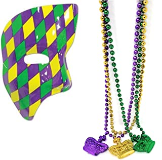 Mardi Gras Masquerade Party Halloween Costumes (1) Men Half Mask Phantom Of the Opera (1) 3 Strands Of Crown Design Bead Necklaces - Bundle of 2