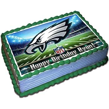 Surprising Amazon Com Philadelphia Eagles Licensed Edible Cake Topper 4577 Funny Birthday Cards Online Inifodamsfinfo