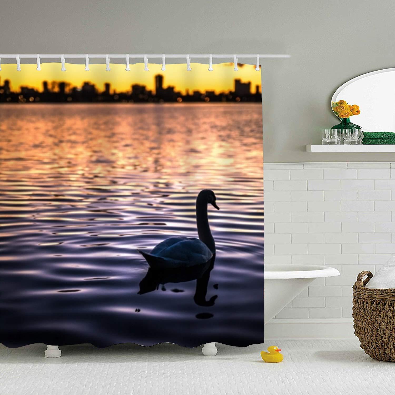 Farm House Decor Shower Curtain,Bird Bokeh Sunset Swan, Fabric