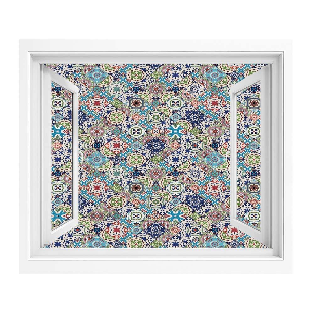 Amazon モロッコ 絵画風 壁紙ポスター 風景 景色 1x80 Cm 複雑なカラフルなモロッコタイルモチーフアンティーク花飾りアラベスク 窓の景色 目の保養 癒し 気分転換 多色のセット ウォールステッカー オンライン通販