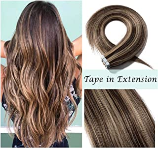 S-noilite Rooted Tape in Human Hair Extension for Women Glue in Remy Human Hair Piece Seamless Skin Weft Invisible Double Tape Full Head Straight 40 Pcs 100 Gram 14Inch #4P27 Medium Brown&Dark Blonde