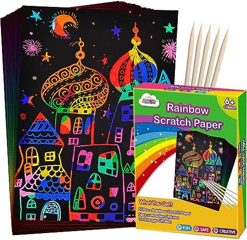 ZMLM Scratch Paper Art Set, 50 Piece Rainbow Magic Scratch Paper for Kids Black Scratch it Off Art Crafts Notes Board...