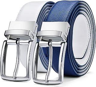 أحزمة رجالي من الجلد الطبيعي ذات حزام للرجال من DWTS مع إبزيم دوار