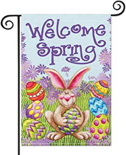 Hierceson Easter Garden Flag Welcome Spring Bunny Colorful Eggs Outdoor Yard Lawn Decor Durable Vertical Double Sided Perf...