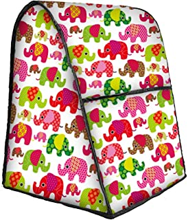 Elephant Pattern Stand Mixer Cover with Pocket, Mixer Covers Fits All Tilt Head & Bowl Lift Models, Compatible 4.5-6 Quart Kitchen Aid Mixer, Kitchen Small Appliance Cover JJZ476