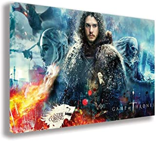 "GAME OF THRONES SEASON 7 JON SNOW CANVAS WALL ART (44"" X 26"" / 110 X 65cm)"