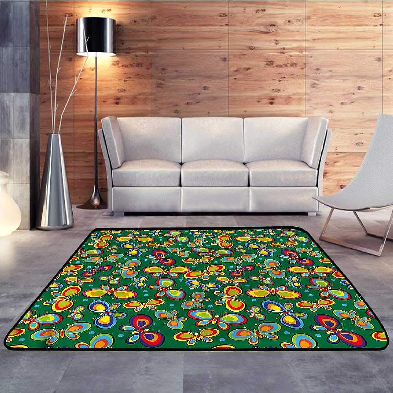 Carpet mat,Nature,colorful Butterflies SpringW 35  x L59 Floor Mat Entrance Doormat