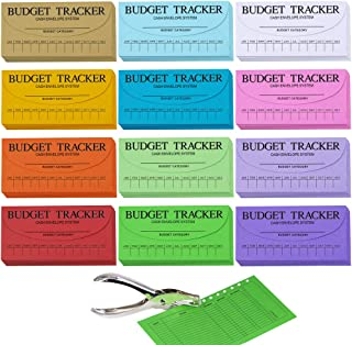 Supla 120 Pcs 12 Colors Cash Envelope Budget System Savings Deposit Envelopes Budgeting Envelopes Cash Organizer Envelopes Wallet System Budget Finance Keeper Pay Expense Envelopes and 1 Hole Puncher