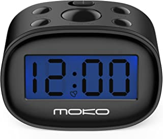 MoKo Kids Alarm Clock, High Accuracy Mini LCD Display Digital Clock Night Light Travel Bedside Alarm Clocks with Snooze Time Backlight Electronic Home Office Table Clock - Black