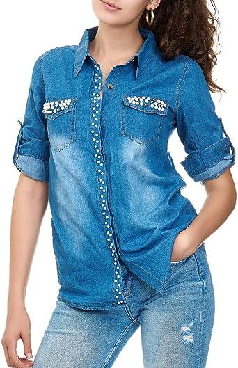 EGOMAXX Camisa de Vaquero para Mujer Blusa Perlas, Color:Azul ...
