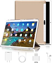 "Tablet 10 inch, Android 9.0 Pie Tablets PC 4GB RAM 64GB ROM, Quad Core Processor, IPS HD 10"" Display, 8MP Dual Camera, Dual 4G SIM, 8000mAh Battery, WiFi, Google GMS Certified - Gold"
