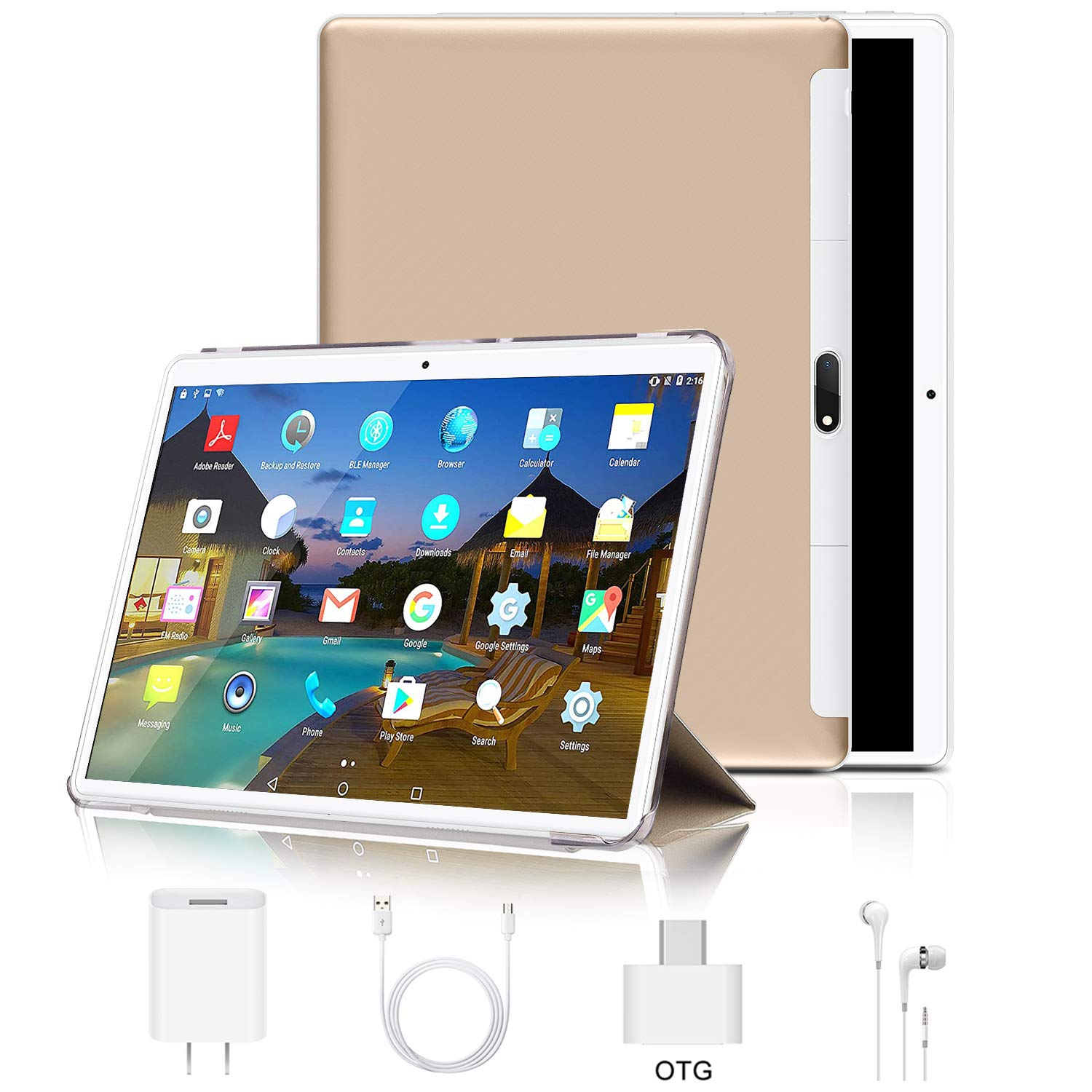 """Tablet 10 inch, Android 9.0 Pie Tablets PC 4GB RAM 64GB ROM, Quad Core Processor, IPS HD 10"""" Display, 8MP Dual Camera, Dual 4G SIM, 8000mAh Battery, WiFi, Google GMS Certified - Gold"""