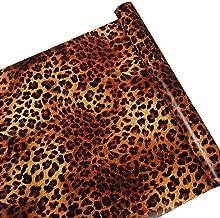 SimpleLife4U Sexy Leopard Print Self-Adhesive Shelf Drawer Liner Moisture Proof PVC Mat 45x300cm