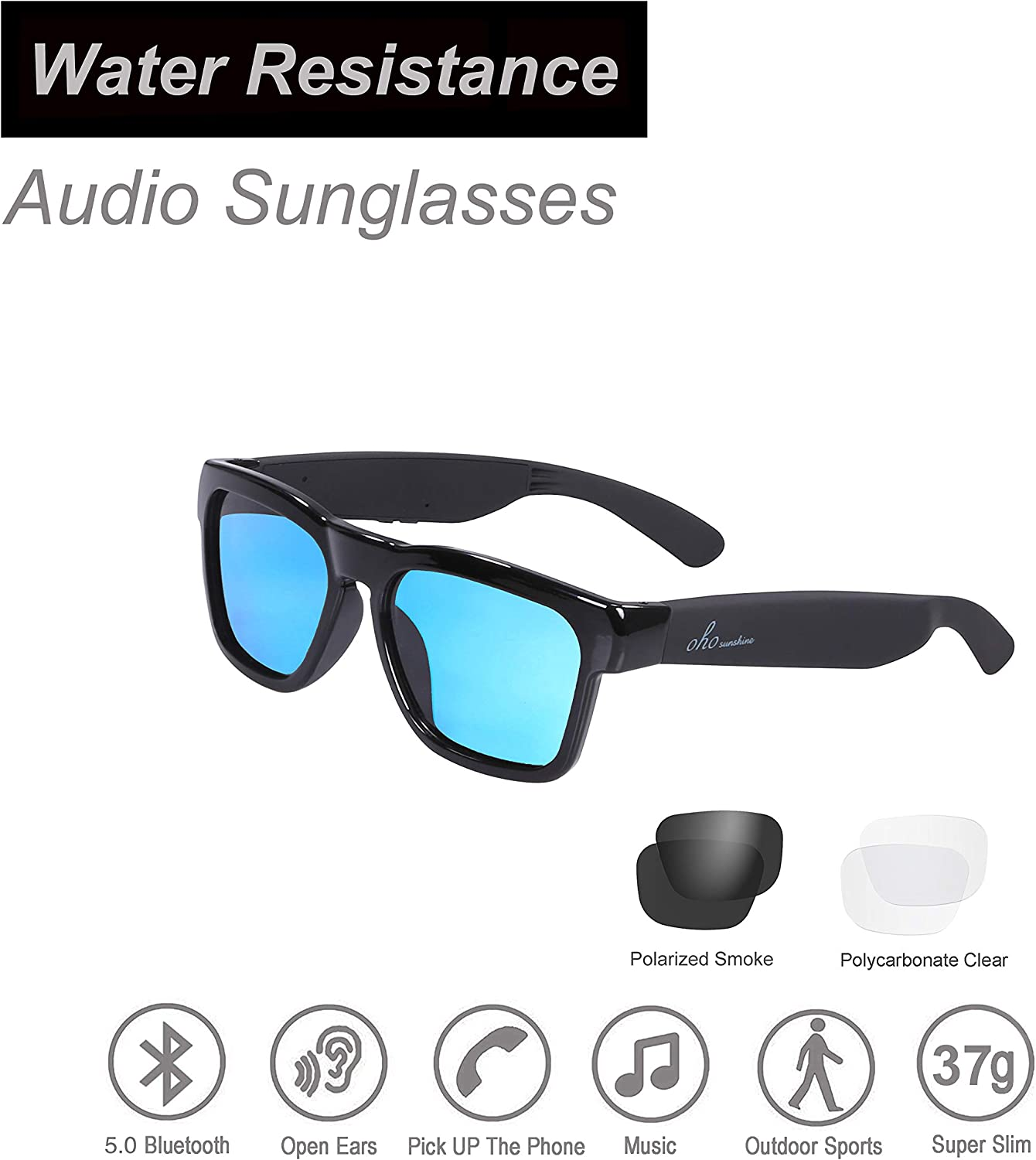 OhO sunshine Audio Sunglasses, Voice Control and Open Ear Style Listen Music and Calls with Volumn UP and Down, Bluetooth 5.0 and IP44 Waterproof Feature for Outdoor Sports