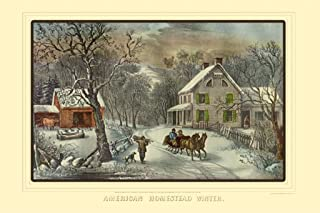 ArtParisienne American Homestead Winter Currier and Ives 20x30 Poster Semi-Gloss Heavy Stock Paper Print