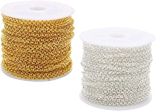 Baoblaze 20 Yards 2mm Width O Link Chain Necklace Gold Silver Color Metal Iron Bulk Chain For Diy Jewelry Making