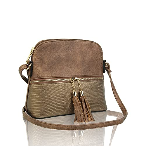 e5f45a12c REDFOX Women's Mini Tassel Zip Trendy Snakeskin Faux Leather Sling  Crossbody Handbag