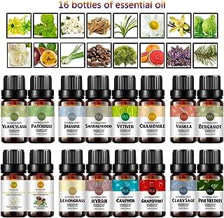 Top 16 Essential Oil Set-Sandalwood, Jasmine, Chamomile, Vetiver, Patchouli, Ylang Ylang, Bergamot, Pine Needle, Vanilla, ...