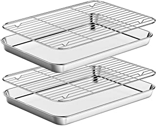 Baking Sheet with Rack Set [2 Pans + 2 Racks ] HKJ Chef Stainless Steel Cookie Sheets Baking Pan Tray with Cooling Rack fo...