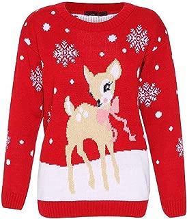 Loxdonz Girls Baby Reindeer Christmas Jumper Kids Unisex Bambi Deer Xmas Knitted Sweater Pullover