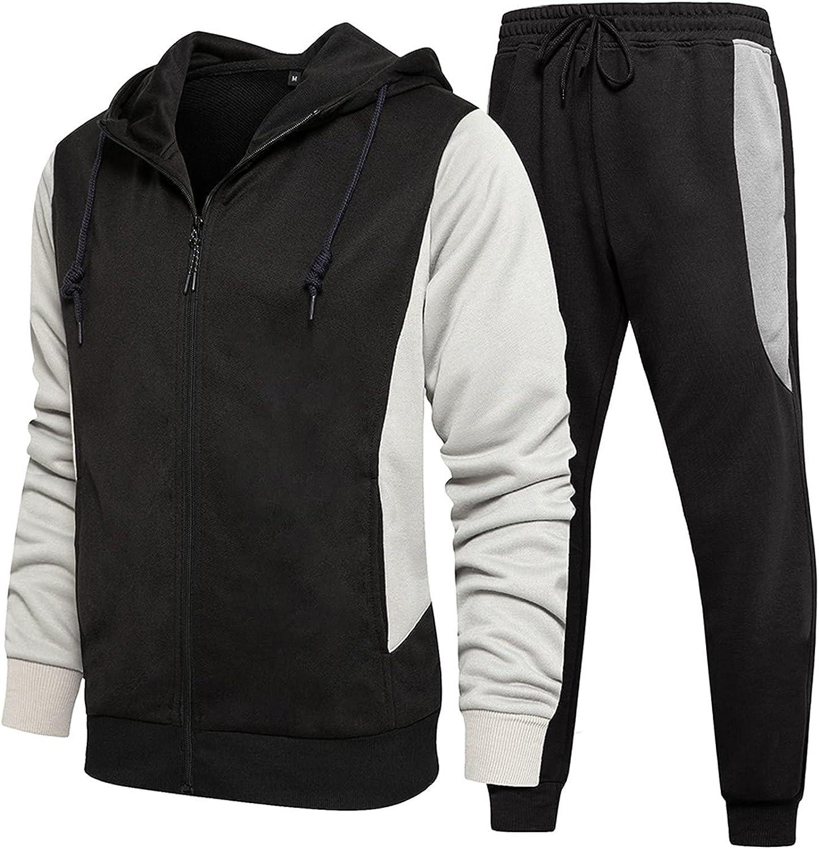 FORUU Mens Tracksuit Set 2021 Winter 2 Piece Sets Striped Patchwork Jacket Sweatpants Set Fashion Outfits Leisure Suit