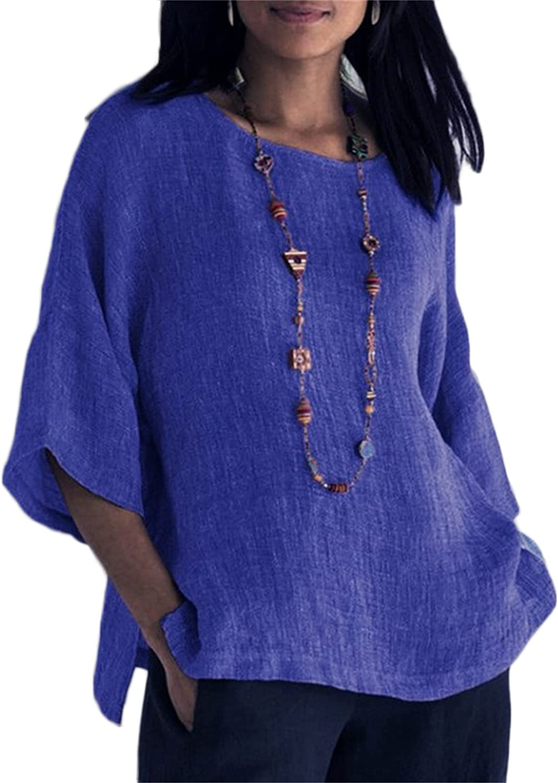 Andongnywell Women's Cotton Linen Shirts Summer 3/4 Sleeve Round Neck Cotton Tunic Tops Blouses Tunics